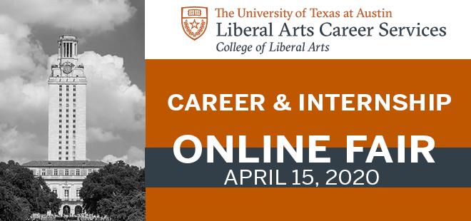 UT Austin Liberal Arts Virtual Career Fair Banner