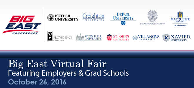 Big East Virtual Career Fair & Grad School Virtual Fair - 2016 Banner