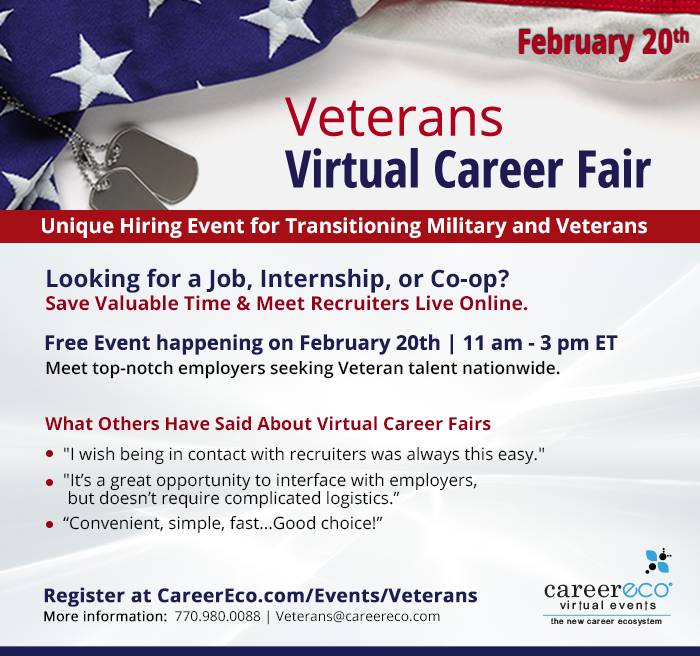 Veterans Virtual Career Fair - February 20, 2020