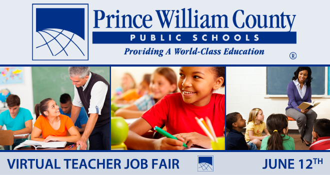 Prince William County Public Schools Virtual Teacher Job Fair Banner