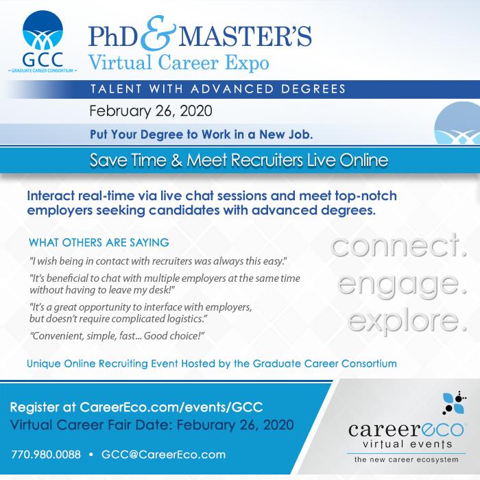 GCC's PhD & Master's Virtual Career Expo - February 26, 2020