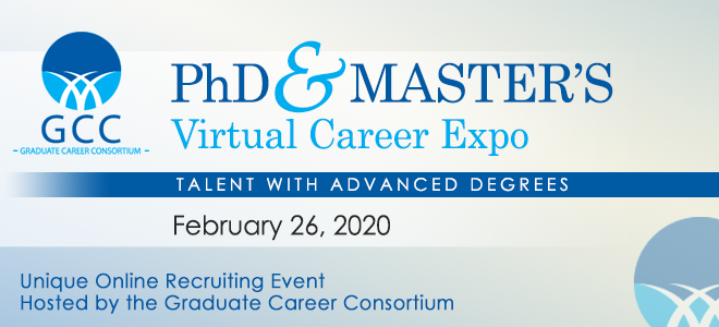 GCC's PhD & Master's Virtual Career Expo Banner
