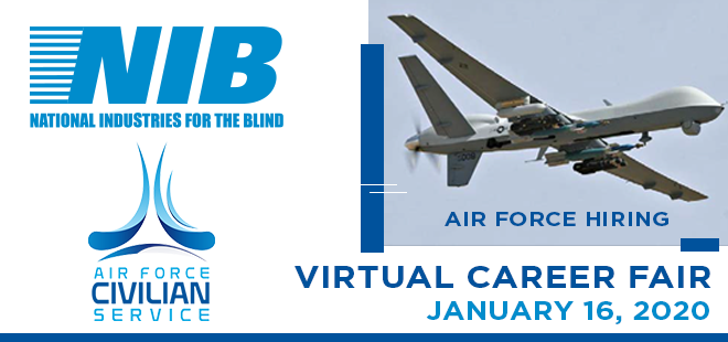 Air Force Civilian Services Virtual Career Fair for Legally Blind Jobseekers Banner