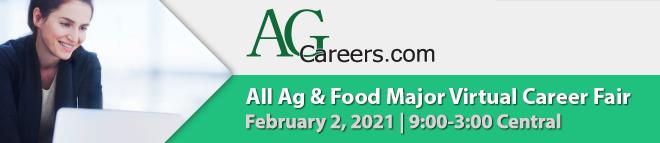 AgCareers.com All Ag & Food Major Virtual Career Fair Banner