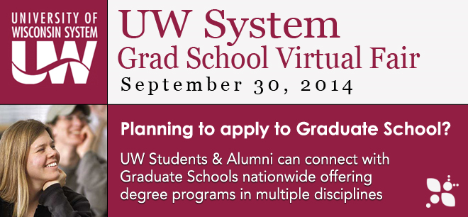 University of Wisconsin-System Grad School Virtual Fair - Sept. 30, 2014 Banner