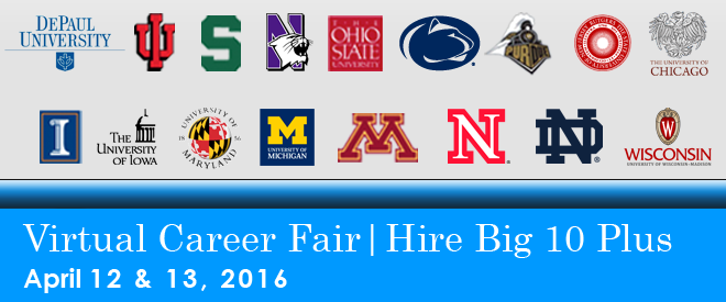 Hire Big 10 Plus Virtual Career Fair - 2016 Banner