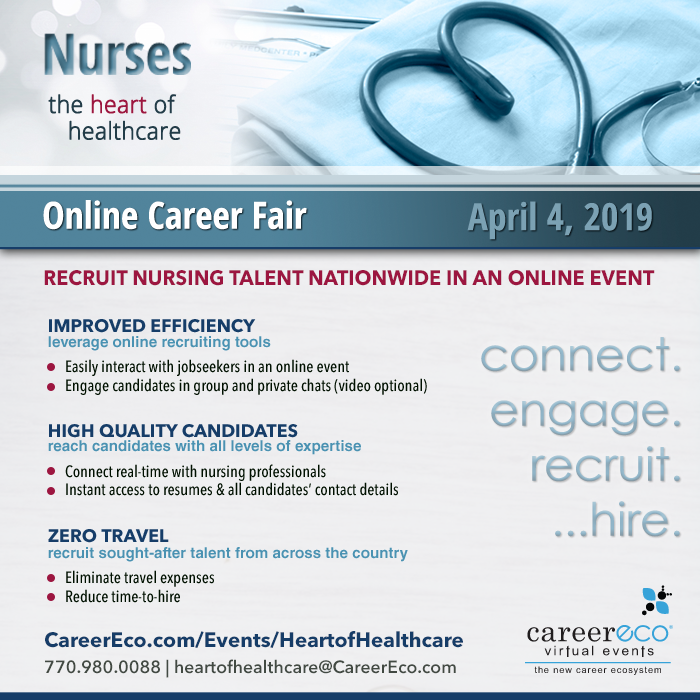Heart of Healthcare Virtual Career Fair: April 4th - Recruit Nursing Talent in an Online Event