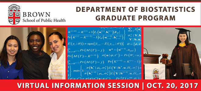 Brown School of Public Health Biostatistics Virtual Information Session Banner