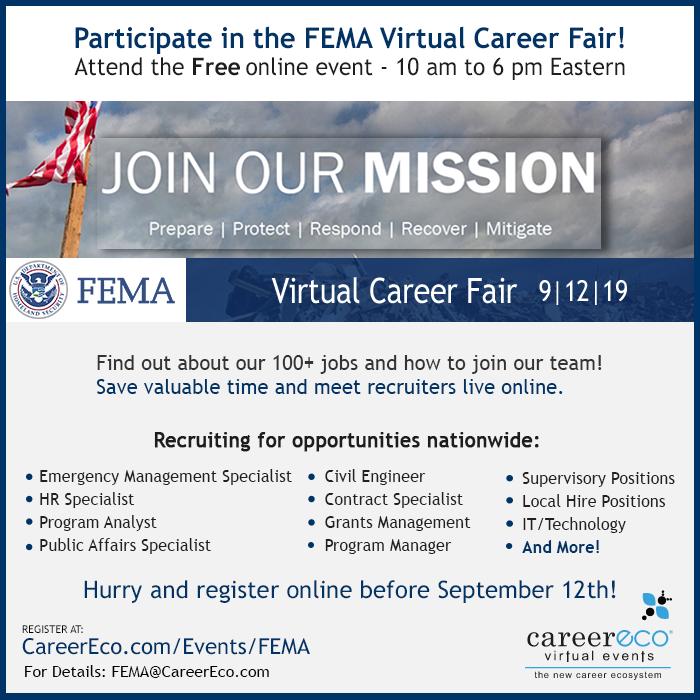 FEMA Virtual Career Fair - September 12, 2019