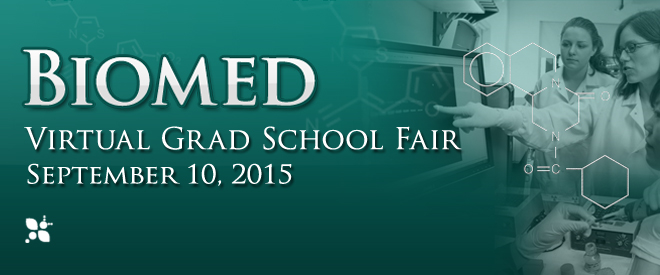 Biomed Virtual Grad School Fair - September 2015 Banner