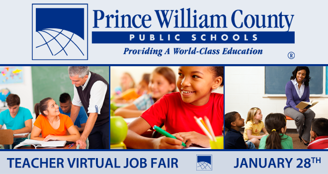 Prince William County Public Schools Teacher Virtual Job Fair Banner