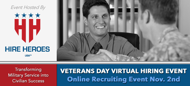 Hire Heroes USA Veterans Day Virtual Hiring Event Banner