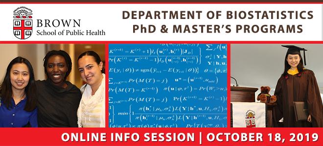 Brown School of Public Health Biostatistics PhD & Master's Online Info Session Banner