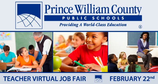 Prince William County Public Schools Teacher Virtual Job Fair Banner