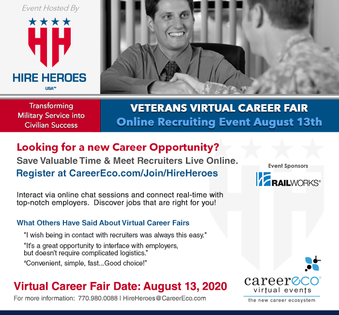 Hire Heroes USA Veterans Virtual Career Fair - August 13, 2020