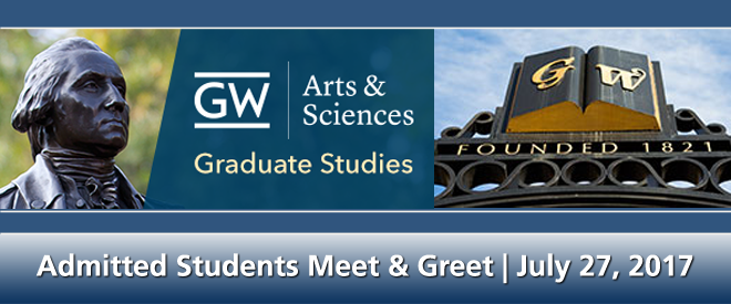 GW Arts & Sciences Graduate Student Meet and Greet Banner