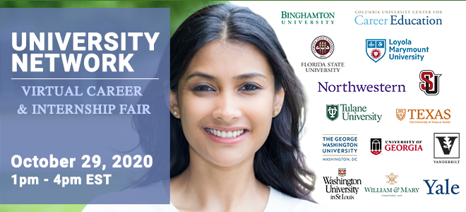 University Network Virtual Career & Internship Fair Banner