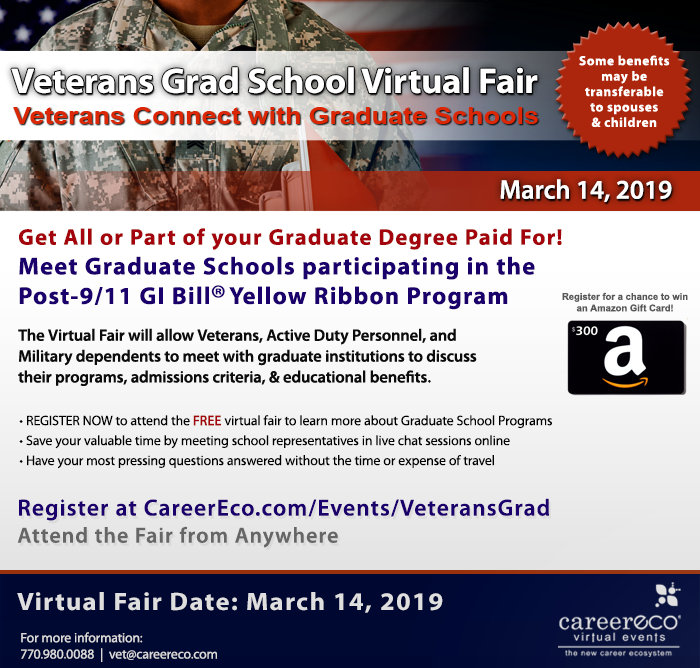 Veteran's Grad Virtual School Fair - March 14th: Employers Recruiting College Educated Veterans Nationwide - Register Now