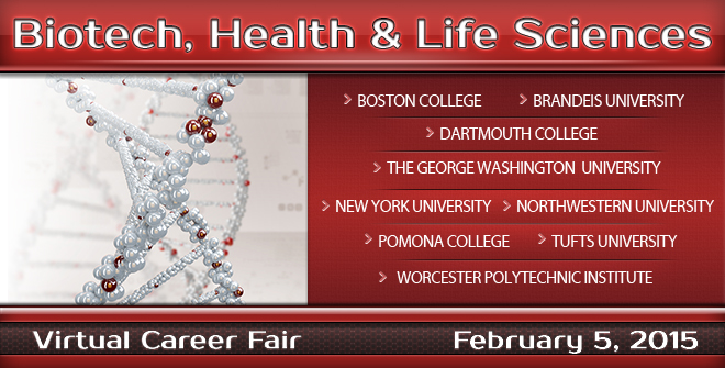 Biotech, Health & Life Sciences Virtual Career Fair - Feb. 2015 Banner