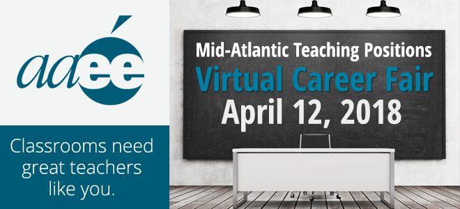 AAEE Mid-Atlantic Teacher Virtual Career Fair Banner