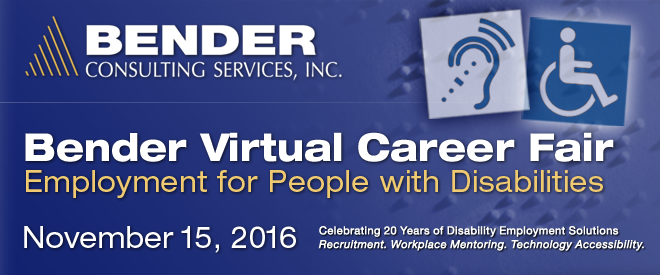 Bender Virtual Career Fair - November 2016 Banner