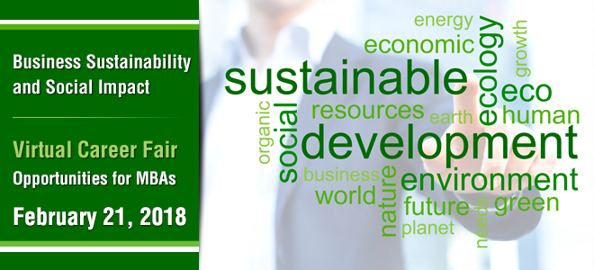 Business Sustainability and Social Impact MBA Virtual Career Fair Banner