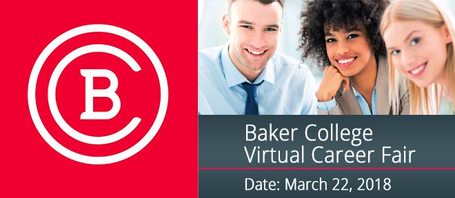 Baker College Virtual Career Fair  Banner
