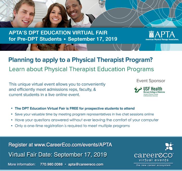DPT Education Virtual Fair - Hosted by APTA - September 17, 2019