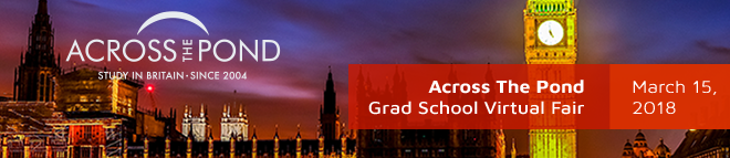 Across The Pond Grad School Virtual Fair for Canadian Students Banner