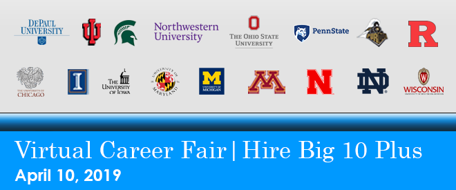 Hire Big 10 Plus Virtual Career Fair Banner