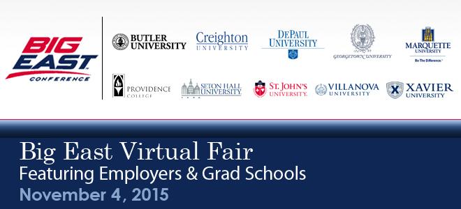 Big East Virtual Career Fair & Grad School Virtual Fair Banner