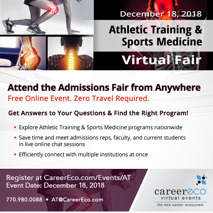 Athletic Training & Sports Medicine Virtual Fair - click to go to registration page