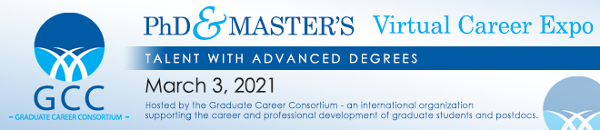 Graduate Career Consortium PhD & Master's Virtual Career Expo Banner