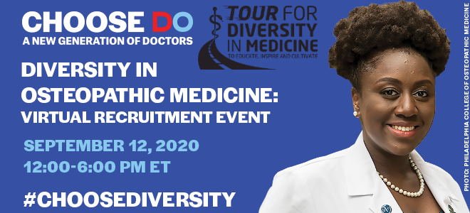 Diversity in Osteopathic Medicine: Virtual Recruitment Event Banner