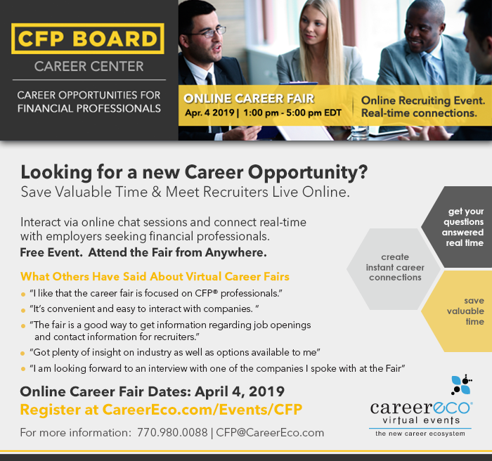 CFP Board Online Career Fair - Experienced & Early Career Financial Professionals Meet Employers Live Online