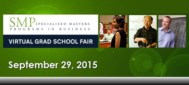 Specialized Masters Programs in Business Virtual Grad School Fair Banner