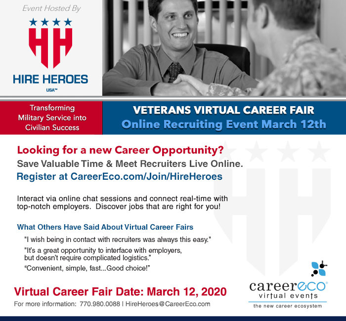 Hire Heroes USA Veterans Virtual Career Fair - March 12, 2020