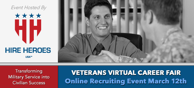 Hire Heroes USA Veterans Virtual Career Fair Banner