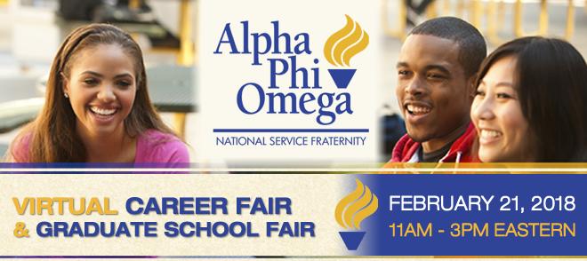 Alpha Phi Omega Virtual Career Fair & Graduate School Fair Banner