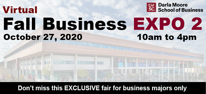 UofSC Darla Moore School of Business Virtual Fall EXPO 2 Banner