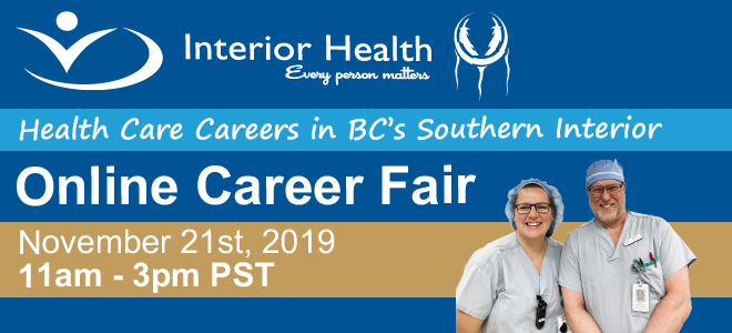 Interior Health Online Career Fair Banner