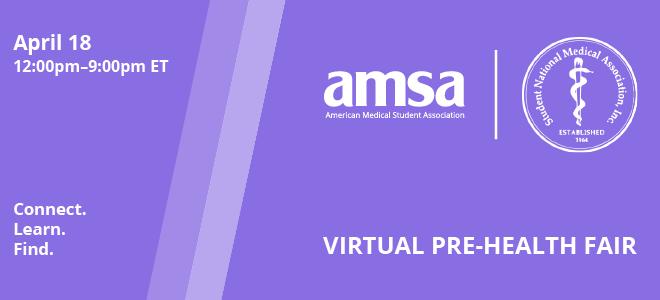 AMSA X SNMA Virtual Pre-Health Fair Banner