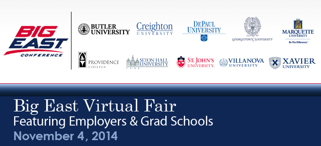 Big East Virtual Career Fair & Grad School Virtual Fair - 2014 Banner
