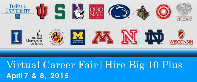 Hire Big 10 Plus Virtual Career Fair - 2015 Banner