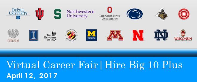 Hire Big 10 Plus Virtual Career Fair Banner