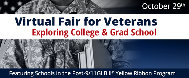 Admissions Virtual Fair for Veterans Exploring College & Grad School Banner