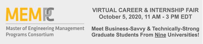 Master of Engineering Management Virtual Career & Internship Fair Banner