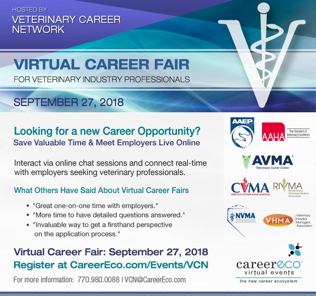 Register Now - Veterinary Career Network Online Career Fair on September 27th