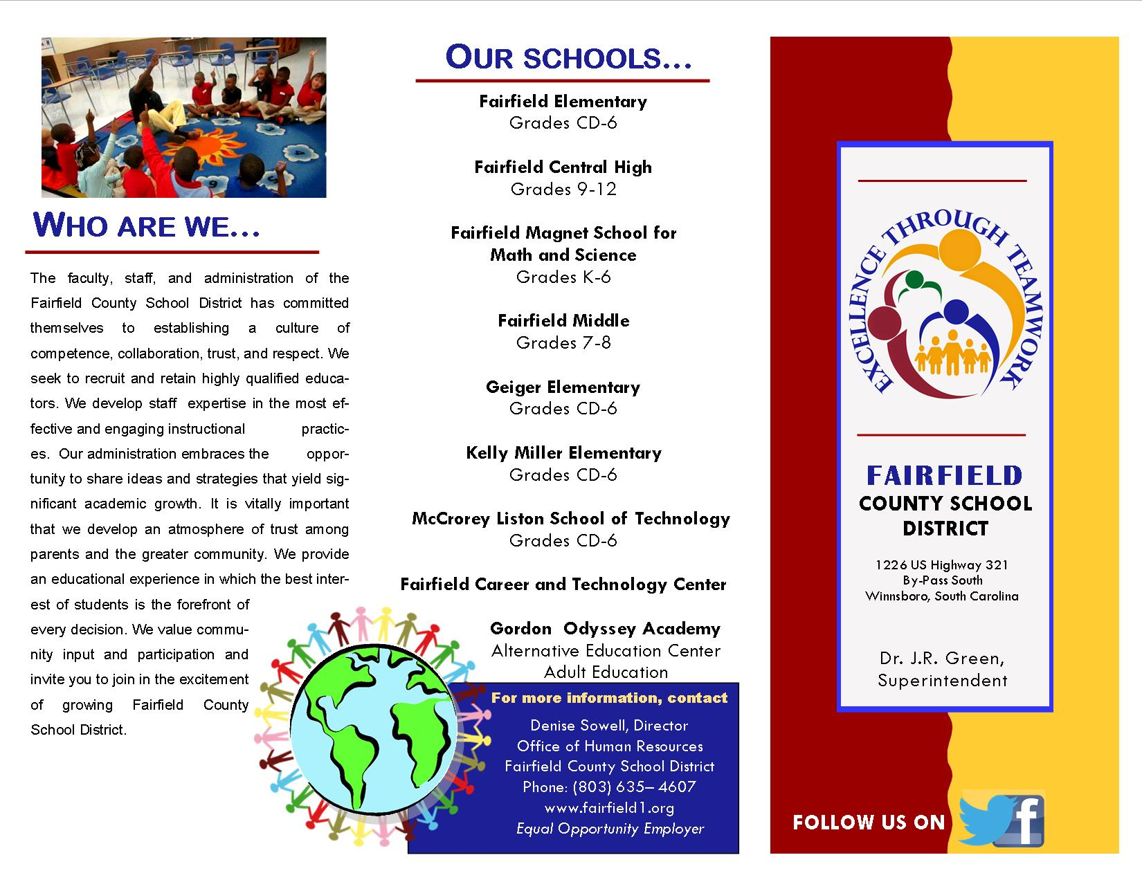 Fairfield County School District serves over 2800 students in grades Child Development to twelfth grade. Students are served by 9 schools in Fairfield County including 5 elementary schools, 1 middle school, 1 high school, 1 alternative school, and 1 career and technology center. As a part of the Healthy, Hunger-Free Kids Act of 2010, the school district participates in the 2014-2015 Community Eligibility Provision which allows Fairfield County Schools to provide free breakfast and lunch to all students. All schools in Fairfield County qualify for Title I funding.