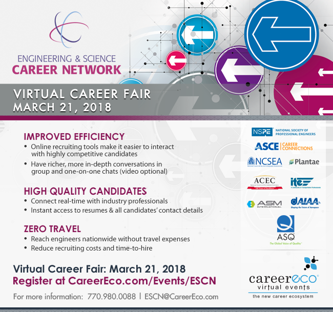 ESCN Online Career Fair on March 21st - Recruit Science & Engineering Professionals Live Online
